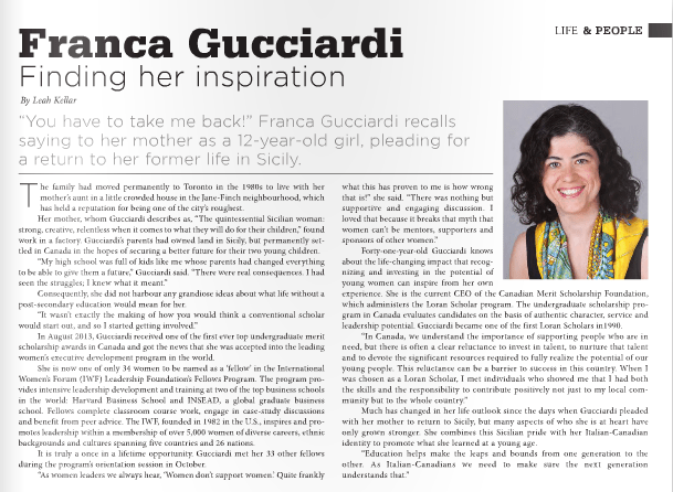 Franca Gucciardi featured in Panoram Italia magazine
