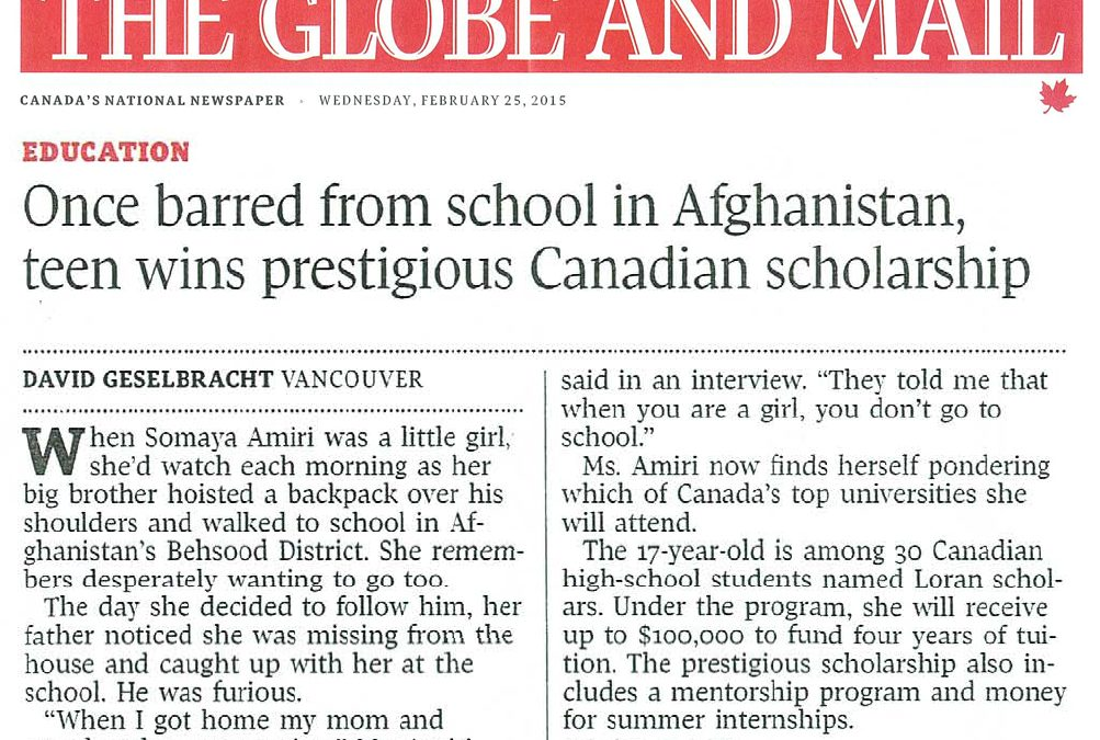 The Globe and Mail: Afghan immigrant studying in Vancouver wins Loran Award