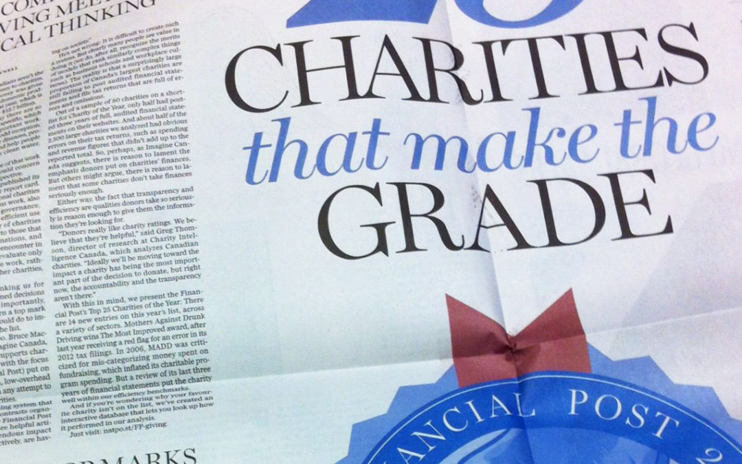 We Made Financial Post's Top 25 Canadian Charities