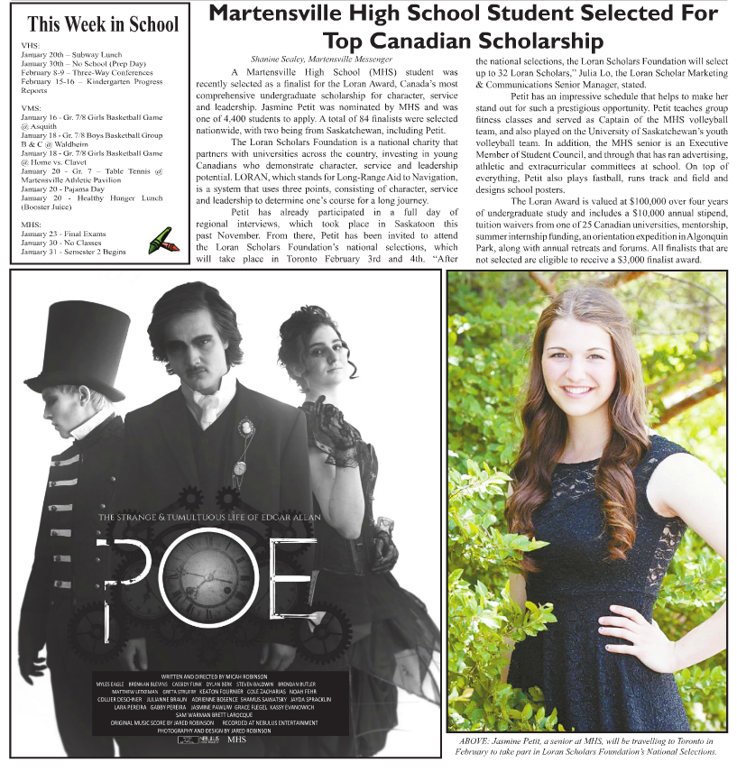 ccef3efdbe0 ... Loran Award valued at $100,000; Martensville Messenger (Jaz Petit): ...